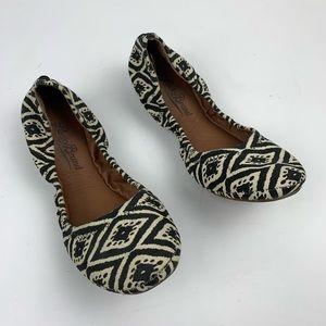 Lucky Brand Erin Black White Aztec Flats sz 6